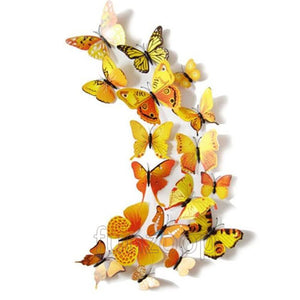 Decorative PVC 3D Magnetic Butterfly Set [12 Pcs] Yellow - Funzoop