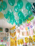 Ceiling Decor Metallic Latex Balloons Bunch Green White Funzoop ThePartyShop