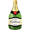 Celebrate Champagne Large Bottle Shaped Foil Balloon Green - Funzoop