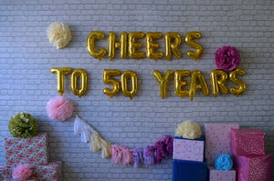CHEERS Birthday, Anniversary Decor with Foil Balloons, Pom Poms and Tassels - Options: 16th, 18th, 20th, 30th, 40th, 50th, 50th, 60th, 70th, 80th , 90th and 100th Milestones