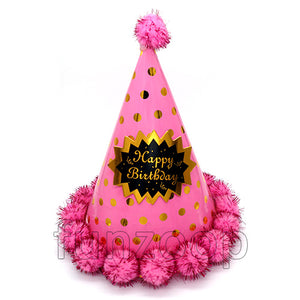 Cone shaped Pom-pom polka Birthday Hat for Girls - Funzoop