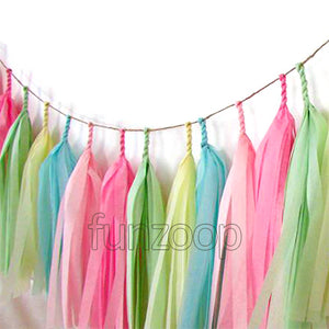 15 Pcs Tissue Paper Tassel Garland Assorted - Funzoop