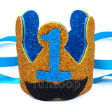 First Birthday Blue Mustache Crown for Boys - Funzoop