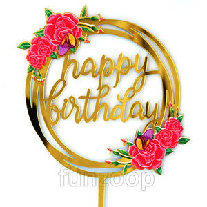 Floral Birthday Cake Topper - Funzoop