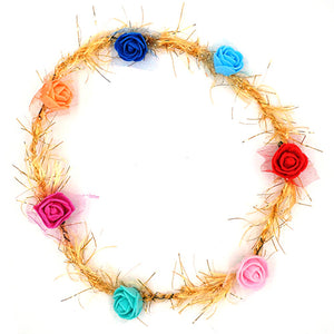 Floral Tiara with Golden Lace - Funzoop