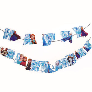 Frozen Characters Happy Birthday Wall Banner - Funzoop