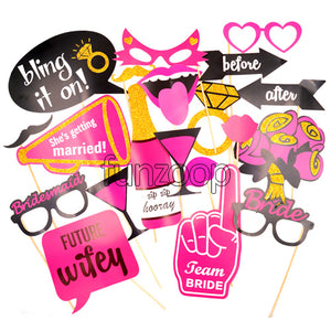Glitter Coated Bachelorette Party Props Set [20 Pcs] Funzoop - The Party Shop