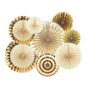 Fiesta Party Hanging Fans Decoration Set (8 Assorted Round Paper Fans) - Funzoop