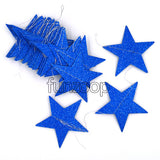 Extra Large 14 Feet Glitter Star Paper Garland (Blue) - Funzoop