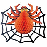 Halloween Spider Web with Large Spooky Spider - Funzoop