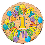 "18"" Happy Birthday 1st Celebration Foil Balloon - Funzoop"