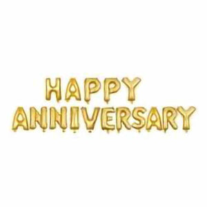 Happy Anniversary Foil Banner Golden - Funzoop