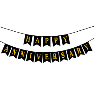 Happy Anniversary Wall Banner with Golden print Black - Funzoop