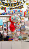 Happy Birthday 5 in 1 Banner Balloons Bouquet Set [5 Pcs] - Available with Uninflated and Helium Inflated options