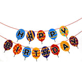 Happy Birthday Balloons Shaped Paper Banner Hung - Funzoop