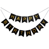 HAPPY BIRTHDAY Black Golden Letters Wall Banner  - Full - Funzoop