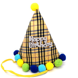 Happy Birthday Checked Fabric Cone Party Hat with Pom Poms - Golden - Funzoop