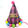 Happy Birthday Checked Fabric Cone Party Hat with Pom Poms - Pink - Funzoop