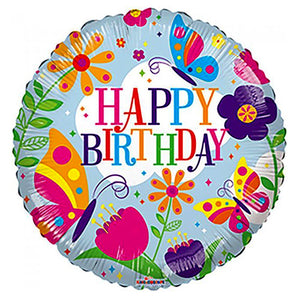 Flowers and Butterflies Happy Birthday Foil Balloon - Funzoop