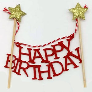 Happy Birthday Golden Stars Cake Topper - Funzoop