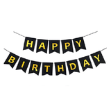 HAPPY BIRTHDAY Paper Flags Wall Banner Black - Funzoop The Party Shop