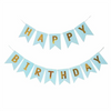 HAPPY BIRTHDAY Paper Flags Wall Banner Blue - Funzoop The Party Shop