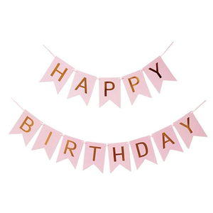 HAPPY BIRTHDAY Paper Flags Wall Banner Pink - Funzoop The Party Shop