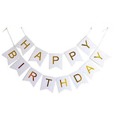 HAPPY BIRTHDAY Paper Flags Wall Banner White - Funzoop The Party Shop