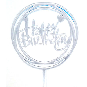 Happy Birthday Round Cake Topper - Assorted - Funzoop