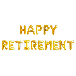 HAPPY RETIREMENT Foil Balloons Banner - Golden - Funzoop