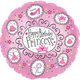 "18"" Happy Birthday Princess Foil Balloon - Funzoop"