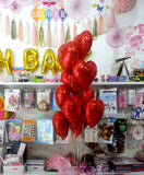 Heart Foil Balloons Bouquet Red - Funzoop