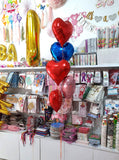 Hearts Foil Balloons Bouquet [BQ17] Red Blue Pink - Funzoop The Party Shop