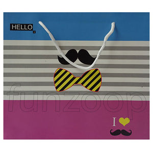 I Love Mustache & Bow Printed Gift Bag - Funzoop
