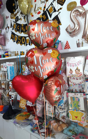 I Love You Hearts Theme 5 in 1 Foil Balloons Bouquet Set [5 Pcs] Helium Inflated Bunch - Funzoop