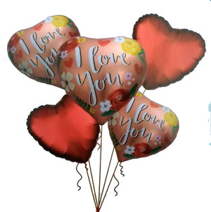 I Love You Hearts Theme 5 in 1 Foil Balloons Bouquet Set [5 Pcs] - Funzoop