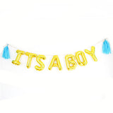 It's a Boy Foil Banner with Tassels - Gold - Funzoop
