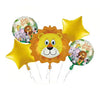 Jungle Animals 5 in 1 Foil Balloons Bouquet Set [5 Pcs] - Funzoop