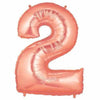 "40"" Large Foil Number Balloons- Rose Gold (Digit 2) - Funzoop"