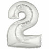 "40"" Large Foil Number Balloons- Silver (Digit 2) - Funzoop"
