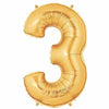 "40"" Large Foil Number Balloons- Golden (Digit 3) - Funzoop"