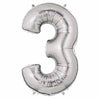 "40"" Large Foil Number Balloons- Silver (Digit 3) - Funzoop"