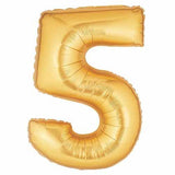 "40"" Large Foil Number Balloons- Golden (Digit 5) - Funzoop"