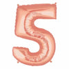 "40"" Large Foil Number Balloons- Rose Gold (Digit 5) - Funzoop"