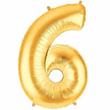 "40"" Large Foil Number Balloons- Golden (Digit 6) - Funzoop"