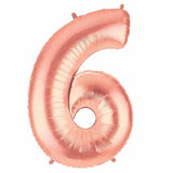 "40"" Large Foil Number Balloons- Rose Gold (Digit 6) - Funzoop"