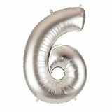 "40"" Large Foil Number Balloons- Silver (Digit 6) - Funzoop"
