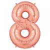 "40"" Large Foil Number Balloons- Rose Gold (Digit 8) - Funzoop"