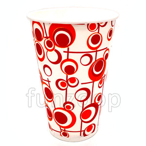 Large Red Patterned Paper Glass - Funzoop