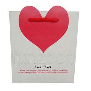 Red Heart Printed Paper Gift Bag (Small) - Funzoop